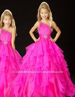 Hot sale one shoulder beaded ruffled fuschia organza custom-made pageant dress flower girl dresses CWFaf3388