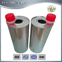 1 liter chemical use oil tin can with plastic spout cap
