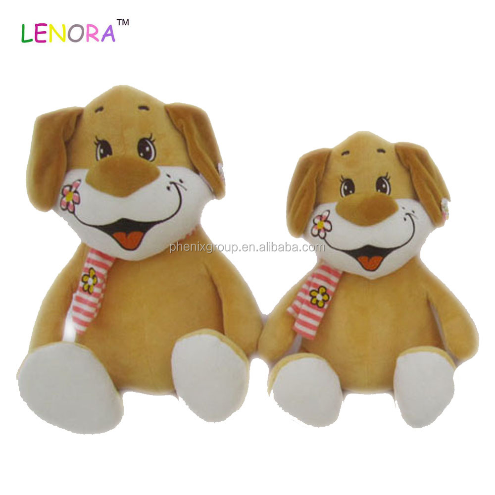 Main product different types stting dog stuffed animal with scraf wholesale price