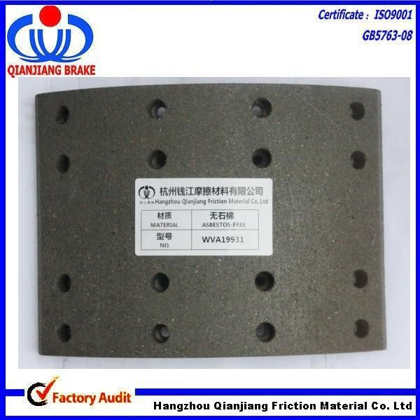 19931/551161 /1109002 asbestos free heavy duty truck brake lining for VOLVO SCANIA spare parts