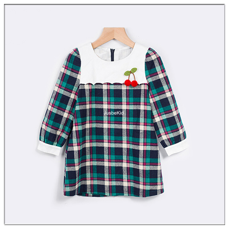 Plaid Children Wear Long Sleeve Kids Frock Design Fancy Dress