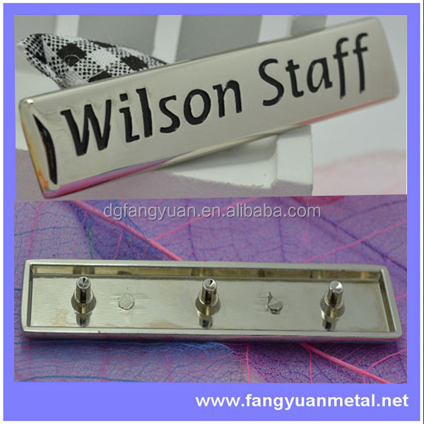 custom metal bag tags, metal name tag with legs, metal logo tag with legs