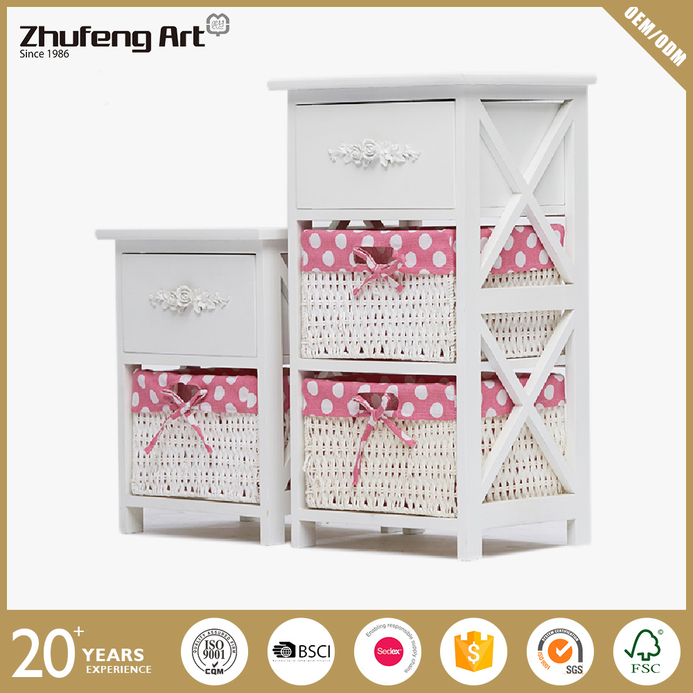Moisture Proof Cheap White Wooden Storage Bedside Table with Wicker Basket Drawer