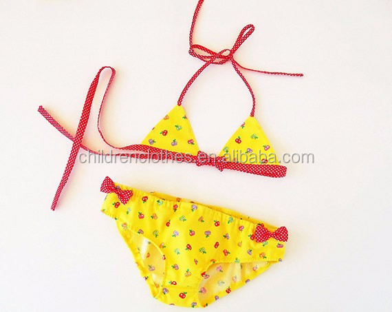 Women Playing Fun Beach Sets Bikini Girls Without Clothes Yellow Floral Printed Swim Outfits