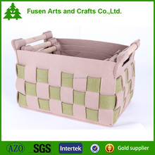 Collapsible wood and felt storage cube bin basket for home decor