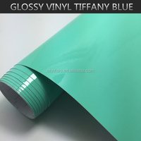 PVC self adhesive vinyl sticker Blue Glossy Car Body protective Wrap Film Bubble Free