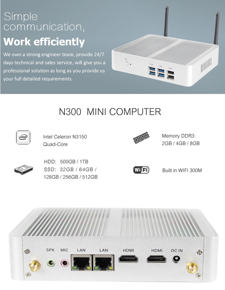 quad core mini pc dual display for Office personal computer