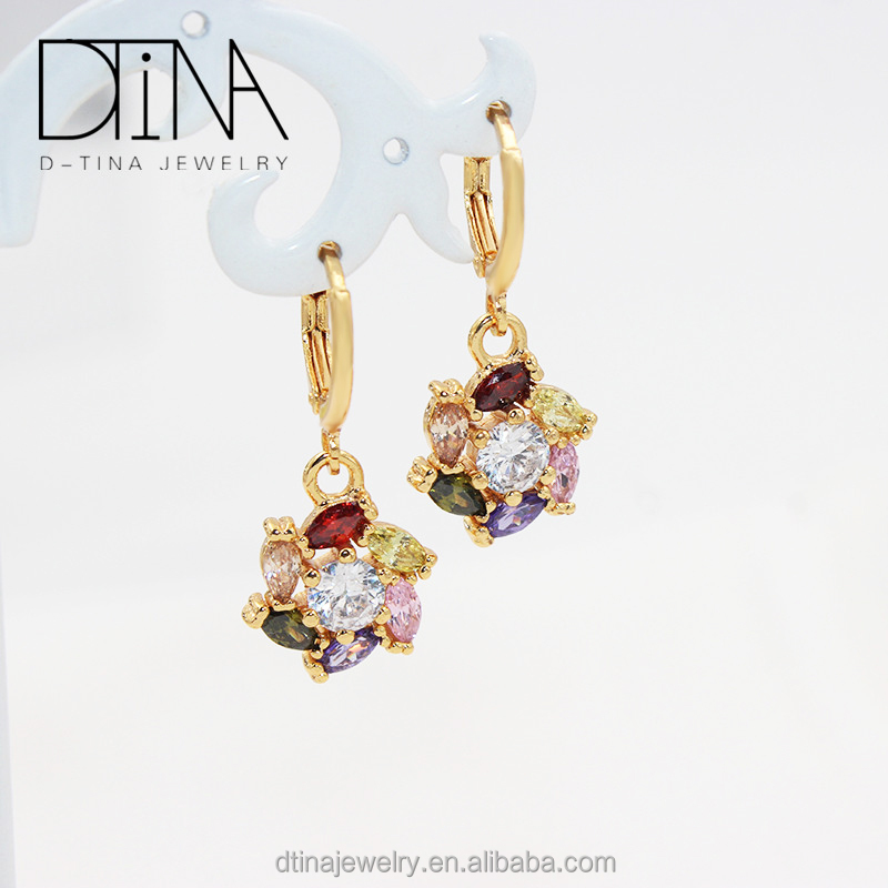 American fashion style jewelry crystal droplets of beautiful long hanging earrings