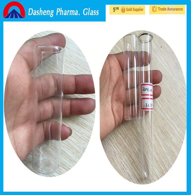 CHINA hot selling high clear soda or borosilicate 12x75 mm glass culture tube,test tube with rim