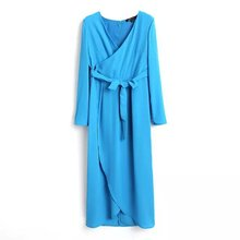 wholesale clothing v neck maxi dress for women china wholesale blue color chiffon long dress