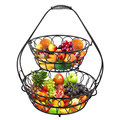Manufacture New Design 2 Tiers Wire Counter Top Fruit Storage Basket