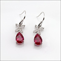 925 Sterling Silver Created Ruby Earring Gemstone Jewelry Hong Kong Wholesale