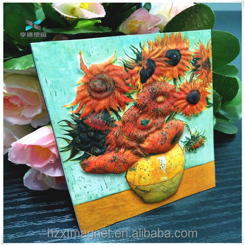 Vincent van Gogh sunflower Custom Promotional souvenir fridge magnet ceramic 3d fridge magnet souvenir magnets