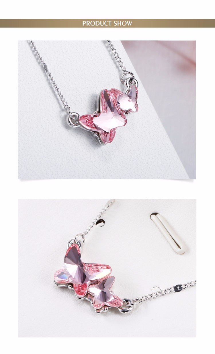 Fashion Women Pink Stone Necklaces 18K Platinum Plating Zinc Alloy Austrian Crystal Butterfly Necklaces 11632-106000