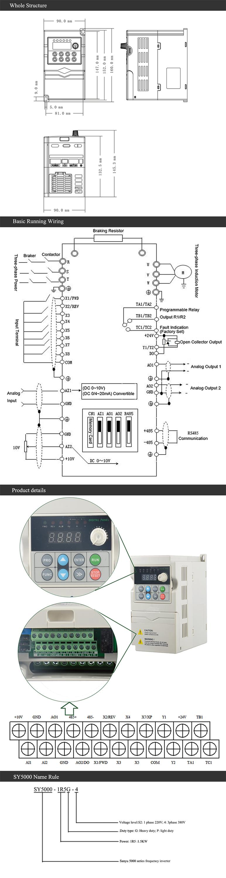 Sanyu 50Hz 60Hz 220V/380V vector control AC varialbe frequency drive, frequency converter