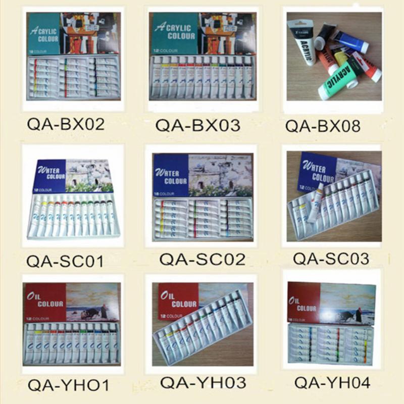 QA 12 개 고품질 수채화 페인트 아트 키트 세트 전문