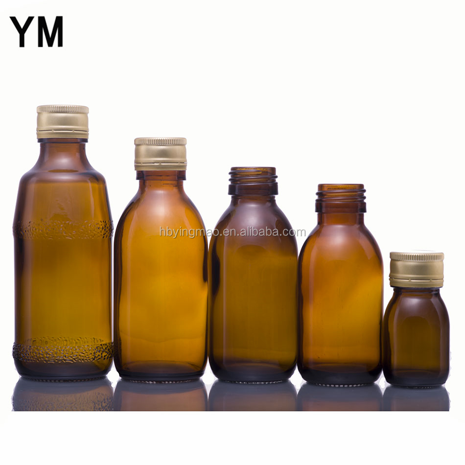 YM 30ml 50ml 60ml 100ml 125ml 150ml pharmaceutical amber syrup glass medical bottles with aluminum cap