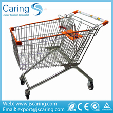 150L zinc 4 swivel flat bearing 4 castors supermarket push cart