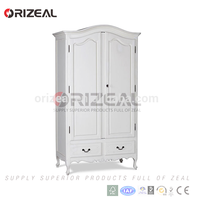 Zhejiang Factory Direct Bedroom Furniture 2 Doors Closet French White Armoire Wood Wardrobe