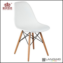 Modern classic plastic seat dining chair with solid wood beech leg