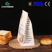 Food grade kraft paper bag for food packing recycle customized triangle sandwich packaging bag with your own logo