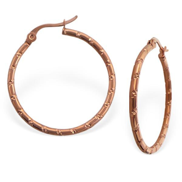 Stainless steel golden hoops with resection