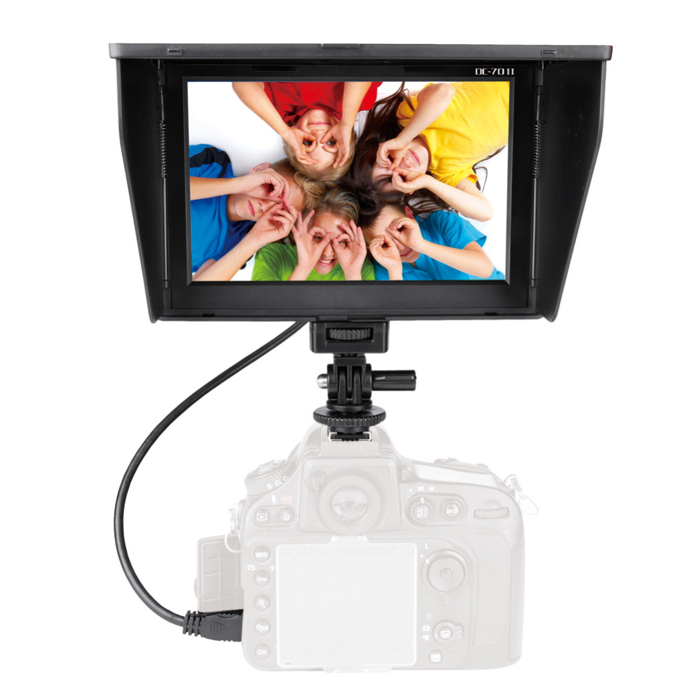 New DC-70II 7 Inch Portable In / Out Clip-on High Definition LCD <strong>Monitor</strong> for All DSLR Camera + Standard Shoe Adapter