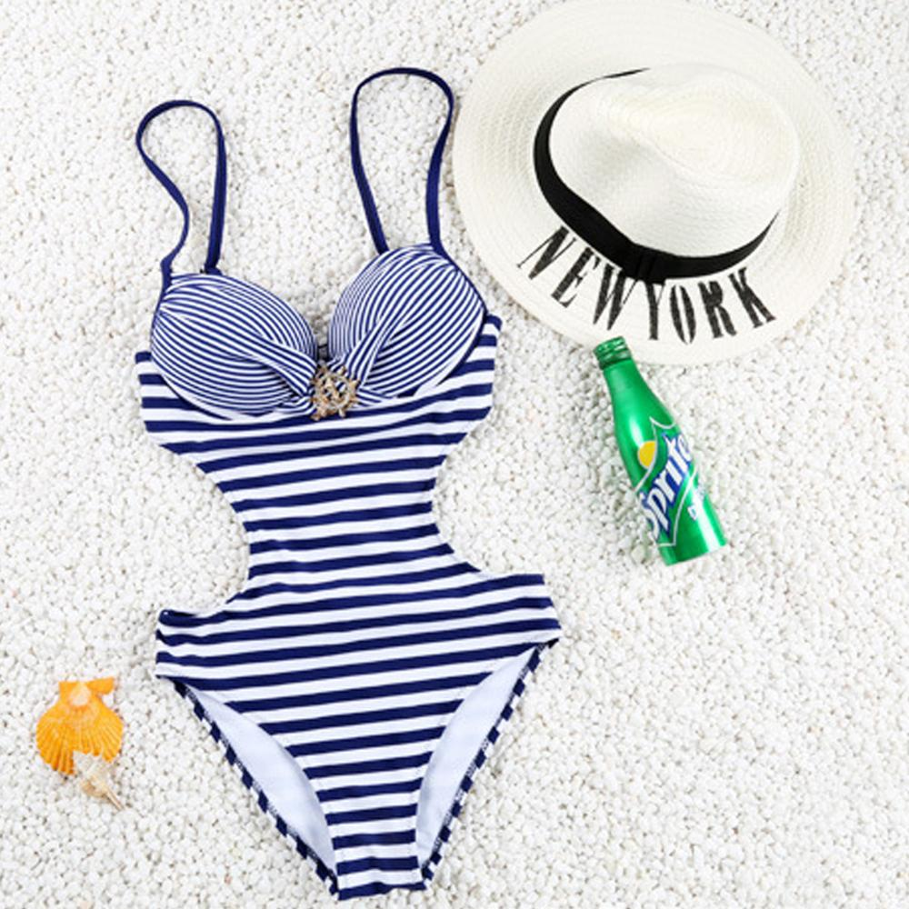 Wholesale No MOQ Vintage High Cut Out Side <strong>Navy</strong> And White Striped One Piece Girl Bikini