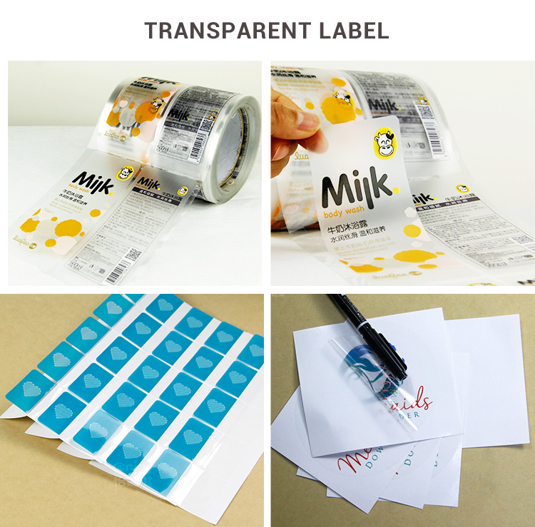 High quality custom vinyl clear sticker label, waterproof transparent PET label sticker with gold stamping
