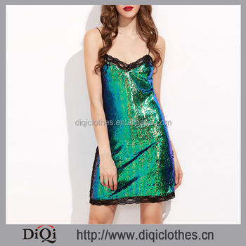 2017 Latest styles china factory price women sexy Club Green Iridescent Contrast Lace Trim Sequin Sheath Cami Dress