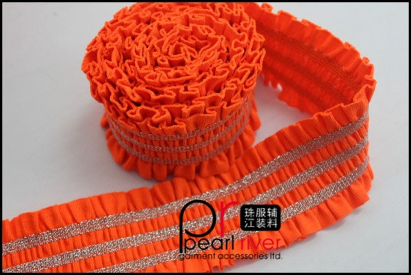 Red color elastic band with wrinkle lace