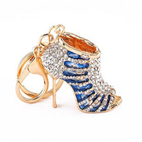 Blue high-heeled shoes shining crystals metal keychain key ring