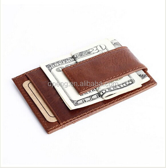 New Arrival RFID Blocking Men's Money Clip Ultra Slim Leather Wallet