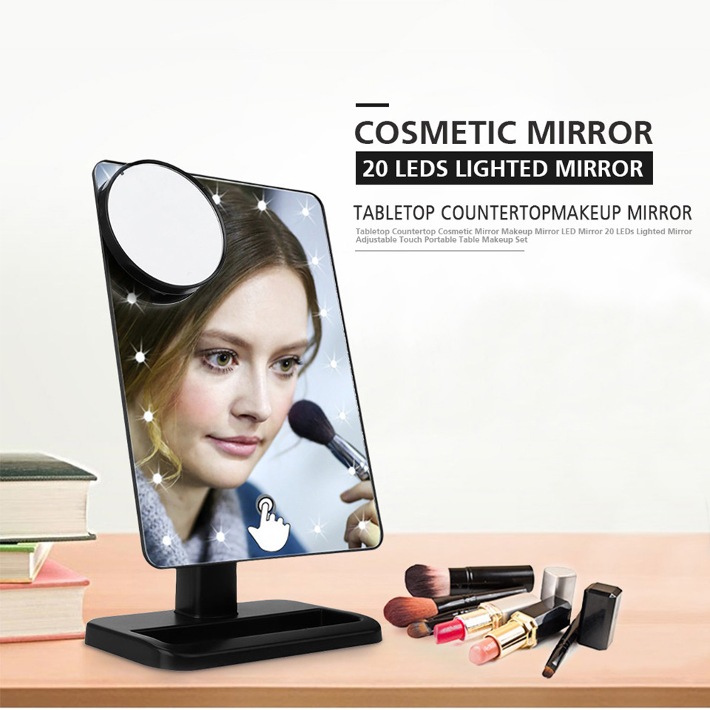 Luxury plastic hollywood style makeup mirror with led 20 lights illuminated mirrors magnifying mirror
