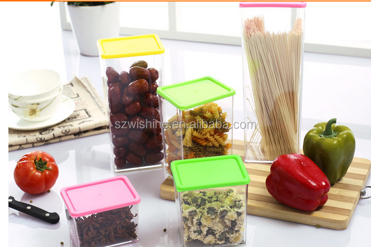 1230ml food grade BPA free square plastic canister/plastic <strong>container</strong>/plastic jar whole sale