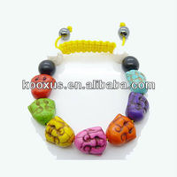 Colorful Buddha Face Shamballa Bracelets Yellow Rope Bracelet KSHLXL-76