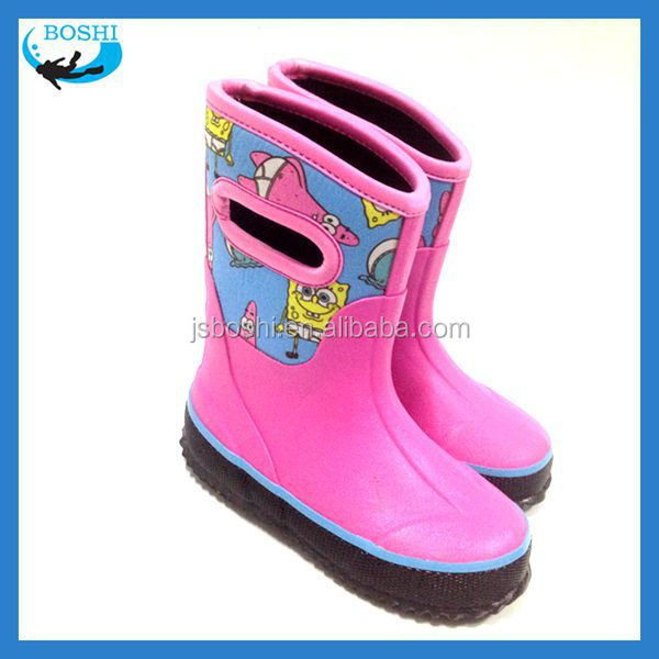 eco tree design fashion children rubber boot Neoprene lining rubber shoes for children