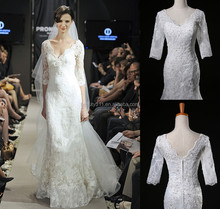 real dress2017 photo New Design Modern A-line V- Neck Half Sleeves Floor-Length Sweep Train Lace wedding dress bridal gown BN16