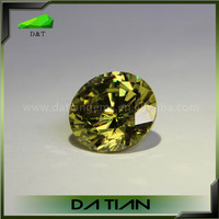 Loose synthetic gemstone round brilliant cut olive cz cubic zirconia stones