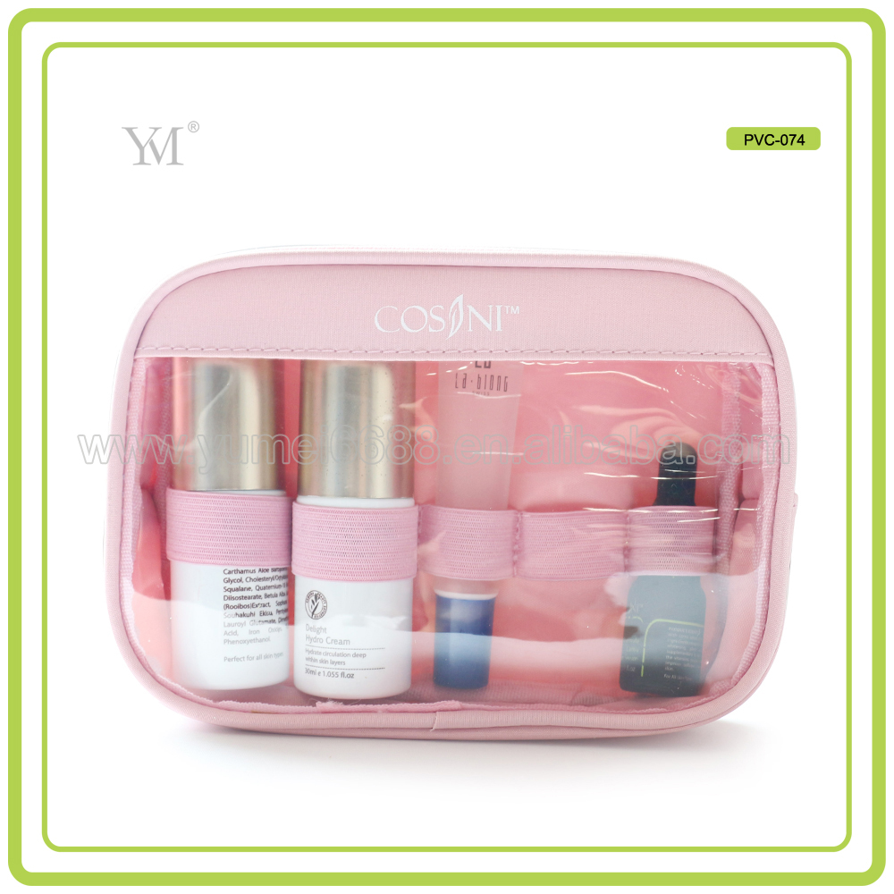 new promotion travel transparent pvc cosmetic bag with zipper and logo