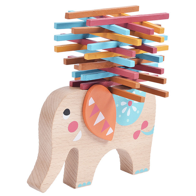 Elephant Toys For Toddlers Lovely Photos Wooden Elephant Balancing Game Blocks Kids Educational Animal Toy Elephant Educational