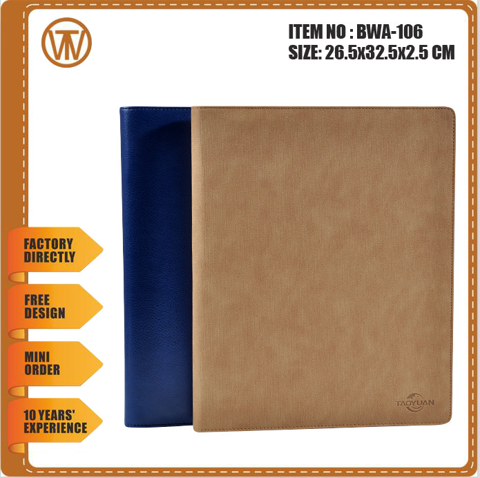 BWA-106 pu leather A4 portfolio case meeting folder with IPAD holder and tellphone support
