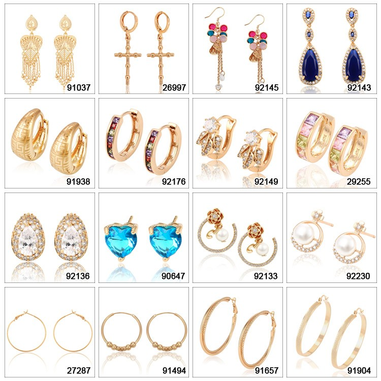 25601 xuping fashion 18k gold plated long drop earrings