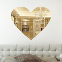 Heart shaped acrylic wall mirror stickers home decors