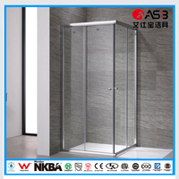 mirror light square 6mm Tempered Glass shower cubicles 800 x 800