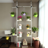 Detachable Vertical Metal Plant Stand White Plants Display Shelf Indoor or Outdoors on a Balcony Patio Garden
