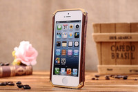 Wholesale Hot sale Genuine 100% Natural wood handmade Wooden+Metal Case for iPhone 5 5g Best Wood+Aluminum bumper Frame Cover