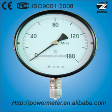 "6"" 160mm black steel case brass bottom connection chinese cheap pressure gauge"