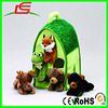 Plush Forest Animal House with Five Stuffed Animals frog fox bear