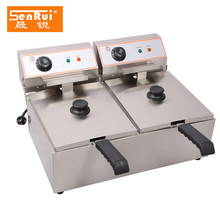 Commercial Kitchen Equipment 4+4L Double Tanks frying fish/chips/electric deep fryer